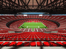 3D render of a round american football stadium with read seats. VIP boxes open roof and blue sky for hundred thousand people Royalty Free Stock Photography