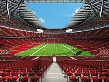 3D render of a round american football stadium with read seats. VIP boxes open roof and blue sky for hundred thousand people Royalty Free Stock Images