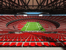 3D render of a round american football stadium with read seats. VIP boxes open roof and blue sky for hundred thousand people Stock Photography