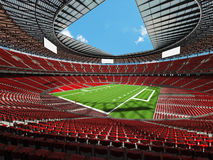 3D render of a round american football stadium with read seats. VIP boxes open roof and blue sky for hundred thousand people Royalty Free Stock Image