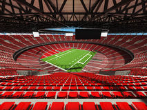 3D render of a round american football stadium with read seats. VIP boxes open roof and blue sky for hundred thousand people Stock Images