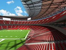 3D render of a round american football stadium with read seats. VIP boxes open roof and blue sky for hundred thousand people Stock Photo