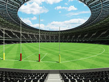 3D render of a round Australian rules football stadium with  black seats. 3D render of beautiful modern round Australian rules football stadium with black seats Royalty Free Stock Photo