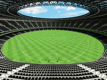 3D render of a round Australian rules football stadium with  black seats. 3D render of beautiful modern round Australian rules football stadium with black seats Stock Photo
