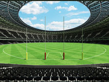 3D render of a round Australian rules football stadium with  black seats. 3D render of beautiful modern round Australian rules football stadium with black seats Royalty Free Stock Photos