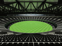3D render of a round Australian rules football stadium with  black seats. 3D render of beautiful modern round Australian rules football stadium with black seats Stock Photography