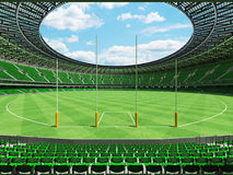 3D render of a round Australian rules football stadium with green chairs. 3D render of a round Australian rules football stadium with  green seats and VIP boxes Royalty Free Stock Photography