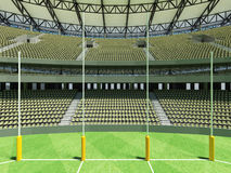 3D render of a round Australian rules football stadium with  olive green gray chairs. 3D render of a round Australian rules football stadium with olive green Stock Photos