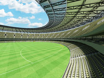3D render of a round Australian rules football stadium with  olive green gray chairs. 3D render of a round Australian rules football stadium with  green gray Royalty Free Stock Image