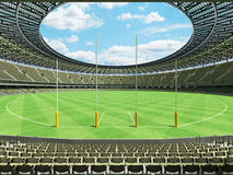 3D render of a round Australian rules football stadium with  olive green gray chairs. 3D render of a round Australian rules football stadium with  green gray Stock Image