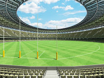 3D render of a round Australian rules football stadium with  olive green gray chairs. 3D render of a round Australian rules football stadium with  green gray Royalty Free Stock Photo