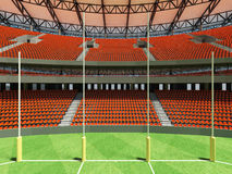 3D render of a round Australian rules football stadium with  orange chairs. 3D render of a round Australian rules football stadium with  orange seats and VIP Royalty Free Stock Images