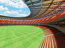 3D render of a round Australian rules football stadium with  orange chairs. 3D render of a round Australian rules football stadium with  orange seats and VIP Royalty Free Stock Photography