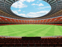 3D render of a round Australian rules football stadium with  orange chairs. 3D render of a round Australian rules football stadium with  orange seats and VIP Stock Photography