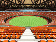 3D render of a round Australian rules football stadium with  orange chairs. 3D render of a round Australian rules football stadium with  orange seats and VIP Stock Images