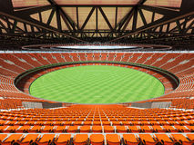 3D render of a round Australian rules football stadium with  orange chairs. 3D render of a round Australian rules football stadium with  orange seats and VIP Stock Photo