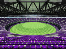 3D render of a round Australian rules football stadium with purple chairs. 3D render of a round Australian rules football stadium with  purple seats and VIP Royalty Free Stock Photo