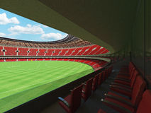 3D render of a round Australian rules football stadium with  red seats. And VIP boxes for fifty thousand fans Stock Image