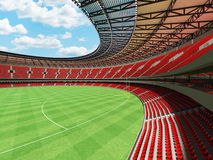 3D render of a round Australian rules football stadium with  red seats. And VIP boxes for fifty thousand fans Stock Images