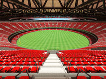 3D render of a round Australian rules football stadium with  red seats. And VIP boxes for fifty thousand fans Stock Photo