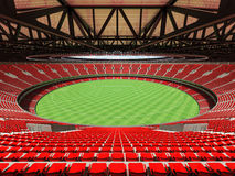 3D render of a round Australian rules football stadium with  red seats. And VIP boxes for fifty thousand fans Royalty Free Stock Photo