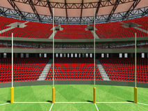 3D render of a round Australian rules football stadium with  red seats. And VIP boxes for fifty thousand fans Royalty Free Stock Images