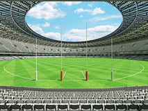 3D render of a round Australian rules football stadium with  white seats. 3D render of beautiful modern round Australian rules football stadium with white seats Stock Photos