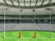 3D render of a round Australian rules football stadium with  white seats. 3D render of beautiful modern round Australian rules football stadium with white seats Stock Images