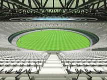 3D render of a round Australian rules football stadium with  white seats. 3D render of beautiful modern round Australian rules football stadium with white seats Royalty Free Stock Images