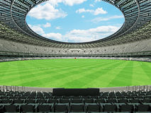 3D render of a round Australian rules football stadium with  white seats. 3D render of beautiful modern round Australian rules football stadium with white seats Royalty Free Stock Photos