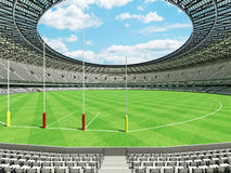 3D render of a round Australian rules football stadium with  white seats. 3D render of beautiful modern round Australian rules football stadium with white seats Royalty Free Stock Image