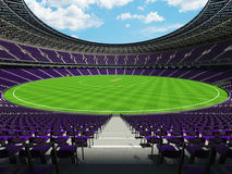 3D render of a round cricket stadium with purple  seats and VIP boxes Royalty Free Stock Photography