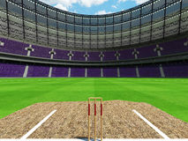 3D render of a round cricket stadium with purple  seats and VIP boxes Royalty Free Stock Photo