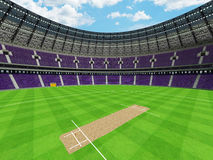 3D render of a round cricket stadium with purple  seats and VIP boxes Royalty Free Stock Images