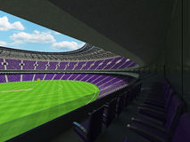 3D render of a round cricket stadium with purple  seats and VIP boxes Stock Images