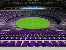 3D render of a round cricket stadium with purple  seats and VIP boxes Stock Photos