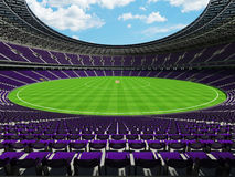 3D render of a round cricket stadium with purple  seats and VIP boxes Stock Photo
