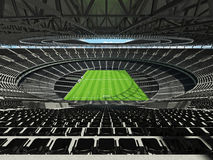 3D render of a round football -  soccer stadium with  black seats Stock Image