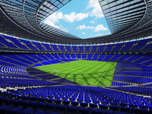 3D render of a round football - soccer stadium with blue sets Royalty Free Stock Photo