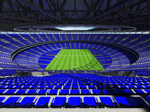 3D render of a round football - soccer stadium with blue sets Royalty Free Stock Images