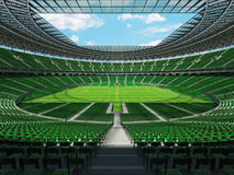 3D render of a round football - soccer stadium with green seats Royalty Free Stock Images