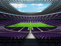 3D render of a round football - soccer stadium with purple seats Royalty Free Stock Images