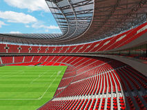 3D render of a round football - soccer stadium with red seats Royalty Free Stock Photo