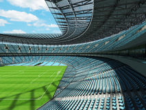 3D render of a round football - soccer stadium with sky blue sets Royalty Free Stock Photo