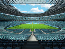 3D render of a round football - soccer stadium with sky blue sets Stock Photos