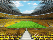 3D render of a round football - soccer stadium with yellow seats Royalty Free Stock Image