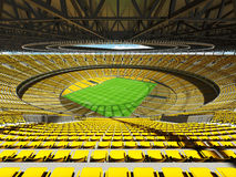 3D render of a round football - soccer stadium with yellow seats Stock Photos