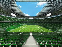 3D render of a round football stadium with green seats for hundred thousand people Stock Photos