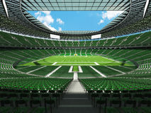 3D render of a round football stadium with green seats for hundred thousand people Royalty Free Stock Photo