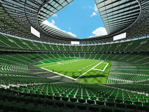 3D render of a round football stadium with green seats for hundred thousand people Stock Photo
